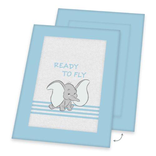 Produktbild Krabbeldecke Baby Dumbo hellblau Decke Vorderseite Rückseite